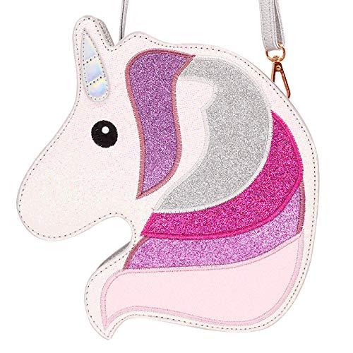 Silver Girls Handbag (HDE 3D Glitter Unicorn Crossbody Purse Bag for Teens Girls Women Novelty Handbag (Silver Unicorn))