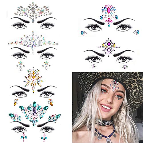 6 Sets Women Mermaid Face Gems Glitter,Rhinestone Rave Festival Face Jewels,Crystals Face Stickers, Eyes Face Body Temporary Tattoos (Day -