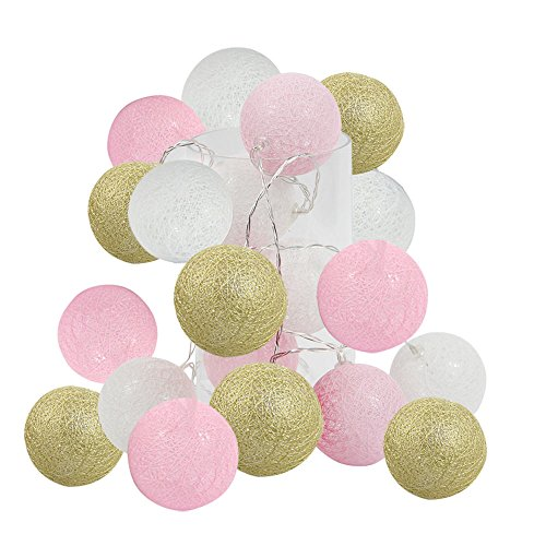 2.5m 20 LED Gold Pink White Cotton Balls String Lights Battery Operated Christmas LED Garland Party Decorative Lamp for Girl Bedroom Wedding Decoration Holiday Party Kids Room Decoration Lights