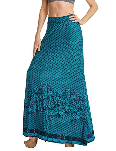 Lock and Love WB1207 Womens Printed Fold Over Maxi Skirt S Jade_Navy