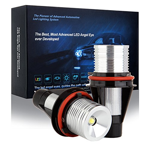 cciyu Ultra White 6000K 10W E39 Error Free CREE LED Angel Eyes Halo Ring Marker Bulbs Replacement fit for BMW 5 6 7 Series X3 X5 (Fit E39 E53 E60 E63 E64 E65 E66 E83) (Bulb 525i Bmw)