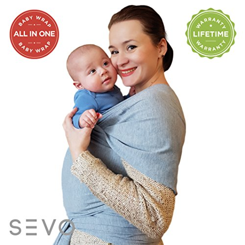 Soft Baby Wrap Sling Carriers – 100% Natural Cotton Safe for Newborn – Styles Infant Blankets – Perfect for Shower Gift - Color Grey