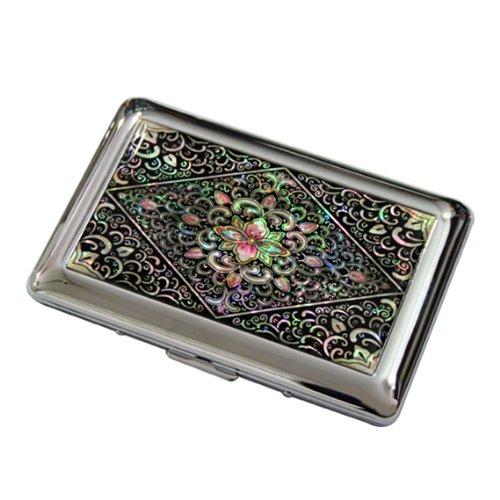 Antique Alive Mother of Pearl Arabesque Design Engraved Metal Cigarette Holder Case