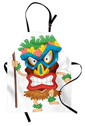 Ambesonne Tiki Bar Apron, Native Man Wearing a Mask Illustration Cartoon Tribal Costume Primitive Ritual, Unisex Kitchen Bib Apron with Adjustable Neck for Cooking Baking Gardening, -