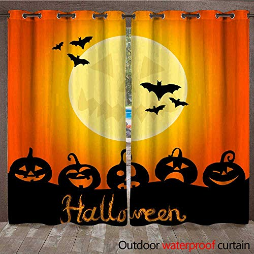 RenteriaDecor Outdoor Ultraviolet Protective Curtains Halloween Night Background with Pumpkins and The Full Moon W108 x -