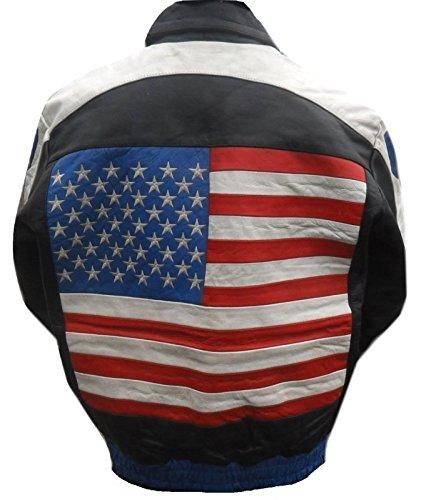 Biker Bandiera Da Giacca Nero Vera In Uomo Con Usa Pelle Nera Buffalo g6wCZqCU