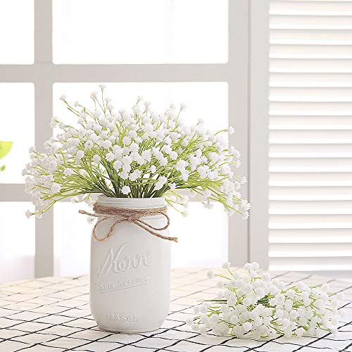 (Veryhome Babies Breath Flowers Artificial Fake Gypsophila DIY Floral Bouquets Arrangement Wedding Home Decor 10PCS)