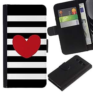 KingStore / Leather Etui en cuir / Samsung Galaxy S3 III I9300 / Rayas horizontales Amor Negro Blanco
