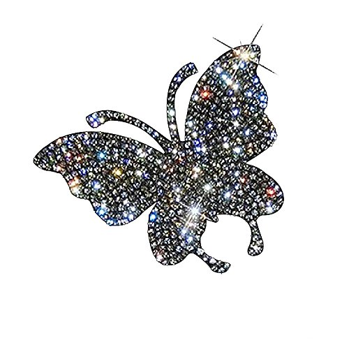 Ling's boutique(TM) Various Patterns of Crystal Car Stickers,Decorate Cars Bumper Window Laptops Luggage Rhinestone Sticker,White (Butterfly) ()