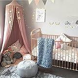 UniTendo Kids' Cotton Linen Fabric Half Black-out Canopy, Pink