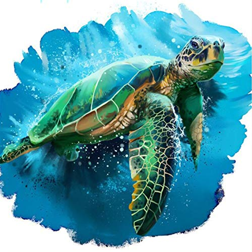 DIY 5D Diamond Painting by Number Kit,Sea Turtle Crystal Rhinestone Embroidery Cross Stitch Supply Arts Craft Canvas Wall Decor 16x16 Inch