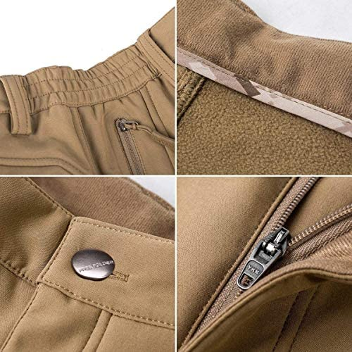 FREE SOLDIER Men's Fleece Lined Outdoor Cargo Hiking Pants Water Repellent Softshell Snow Ski Pants with Zipper Pockets