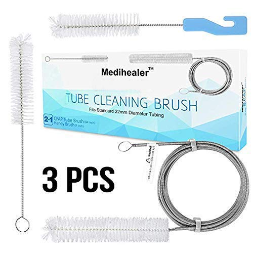 Medihealer CPAP Tube Hose Cleaning Brush,CPAP Mask Cleaner Brush,Supplies for Standard 22mm Diameter Tubing,Stainless Steel 7ft and 7Inch Handy Brush,Pack of 3 (Best Way To Clean Cpap Mask)