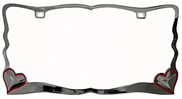 custom accessories 92761 chrome heart license plate frame