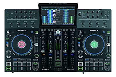 Denon DJ Prime 4   4-Deck Standalone Professional DJ Controller With Dual Audio Interface by inMusic Brands