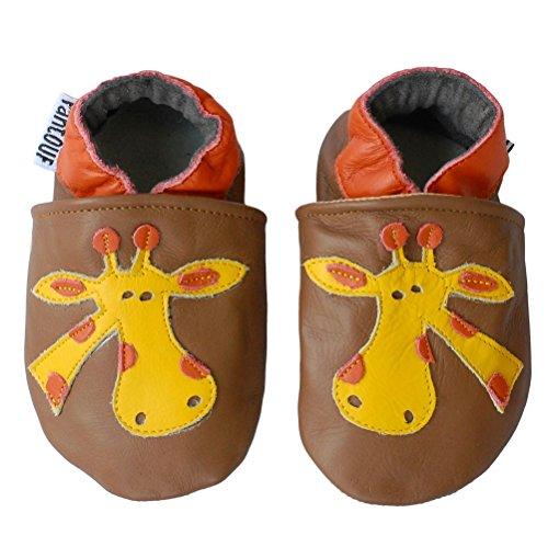 Zapatillas de Niño Niña - Patucos de cuero con elástico para Bebé - Zapatillas Primeros Pasos - Zapatillas infantiles -pescado marrón con una jirafa