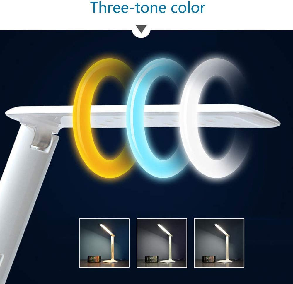 Smart Touch Schreibtischlampen Weis Arbeiten Studieren Faltbare LED Dimmbare Tischlampe mit USB Ladeanschluss zum Lesen GYing LED Eye-Caring Schreibtischlampe