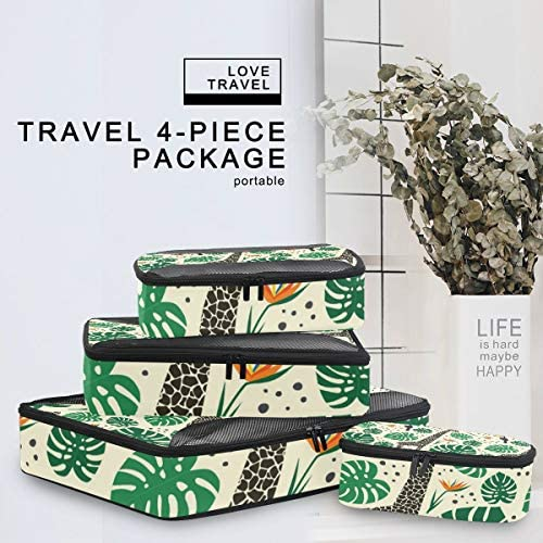 緑のキリンの葉荷物パッキングキューブオーガナイザートイレタリーランドリーストレージバッグポーチパックキューブ4さまざまなサイズセットトラベルキッズレディース