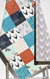 Woodland Quilt Deer Bears Bucks Aztec Tribal Forest Mountains Arrows Owls Fox Teal Blue Ornage Gray Bedding Handmade Crib or Toddler Size Bedding