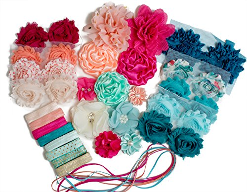 Soda Shop Girl : Headband Kit Makes 20+ Unique Hair Accessories : Shabby Chiffon Craft Roses Elastics : Parties & Baby Showers : Pink Peach & Aqua ()