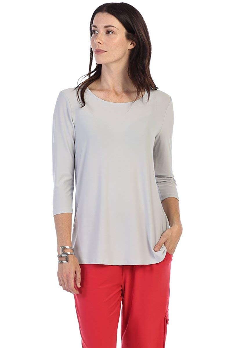 By JJ WrinkleFree Round Neck 3 4 Sleeve Top