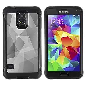 Hybrid Anti-Shock Defend Case for Samsung Galaxy S5 / Cool Polygon B&W Pattern