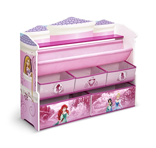 Delta Children Deluxe Book & Toy Organizer, Disney Princess (Baseball Toy Chest)