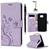 Note 5 Case,Galaxy Note 5 Case - Wallet Case Folio Kickstand Case 3D Embossed Butterfly PU Leather Case Shockproof Soft TPU Bumper Slim Protective Card Slot Hand Strap Cover by Badalink - Light Purple