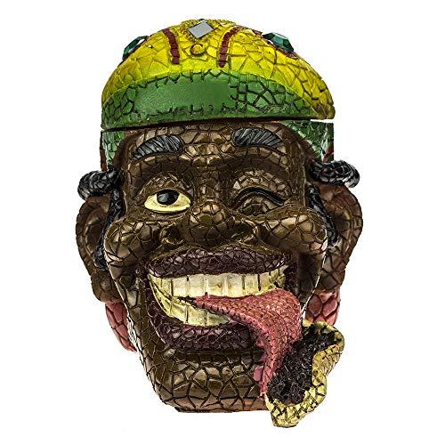 Ashtray Rasta Man Head - Intricate Jamaican Man Mosaic Tile Figurine Polyresin Ashtray Weed Hemp Marijuana Pot Cannabis Party Accessory - (ASH-RM1) C ()