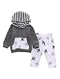 Greenafter Baby Boy Toddlers Plane Hoodie and Pants Sweatsuit Outfit Set
