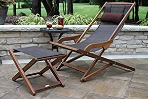 Amazing Outdoor Interiors Sling And Eucalyptus Ottoman Stool Cjindustries Chair Design For Home Cjindustriesco
