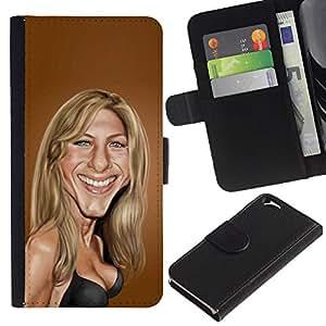 Planetar® Modelo colorido cuero carpeta tirón caso cubierta piel Holster Funda protección Apple (4.7 inches!!!) iPhone 6 / 6S ( Sarah Anniston Brown Caricature Movie )