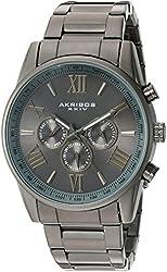 Akribos XXIV Men's AK736GN Ultimate Swiss Quartz Multi-Function Gun Metal Stainless Steel Bracelet Watch