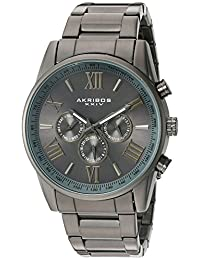 Akribos XXIV AK736GN Men's Swiss Quartz Metal and Stainless Steel Automatic Watch, Black