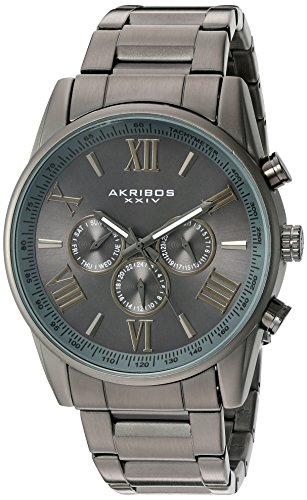 Akribos XXIV Men's AK736GN Ultimate Swiss Quartz Multi-Function Gun Metal Stainless Steel Bracelet Watch