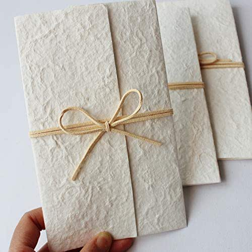 Picky Bride Vintage Off White Wedding Invitations with Envelopes Rustic Invitations for Unique Wedding Theme Soft Super Quality Paper - Set of 20