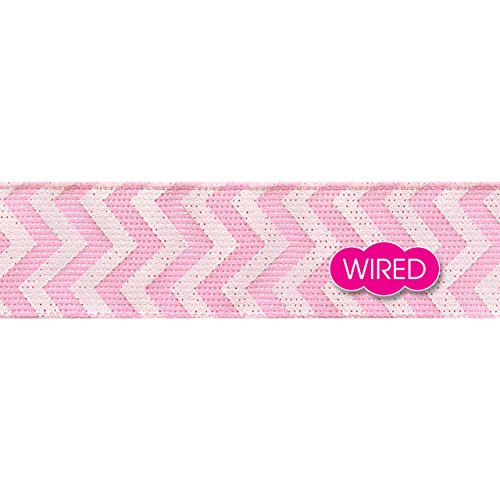 Morex Ribbon Chevron Linen, Polyester, 1 1/2 inches by 25 Yard, Pink, Item 97938/25-604 (Christmas 604)
