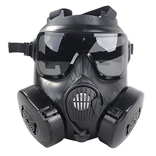 Outgeek M50 Airsoft Mask Full Face Skull CS Mask With Fan (Black) -