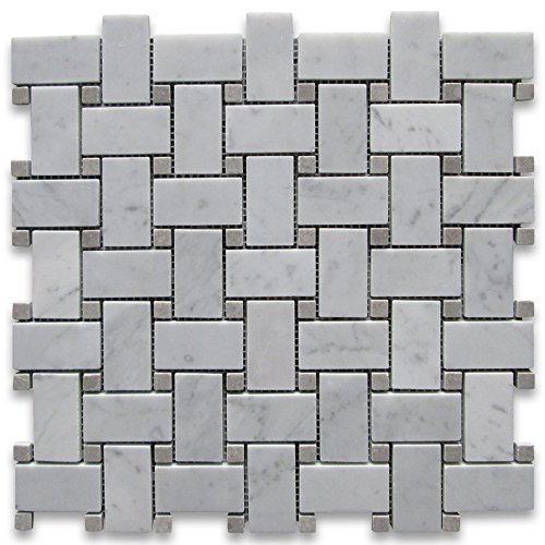carrara white italian carrera marble basketweave mosaic tile gray dots 1 x 2 polished