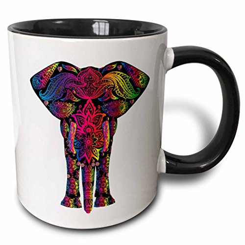 Elephant Mug Coffee (3dRose mug_240650_4 Colorful Abstract Art of Asia Elephant - Two Tone Black Mug, 11oz)