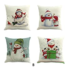 "Christmas Pillow Case, Kimloog Snowman And Santa Claus Couch Bed Car Decors Cushion Pillow Covers 18x18 (18X18"", B1)"
