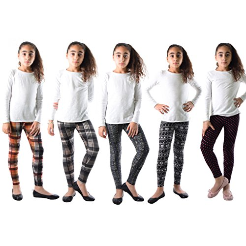 Price comparison product image 5 Pack Deal on These Great Girls Fun Printed Leggings Plaid-921-920-907-939-908-XS