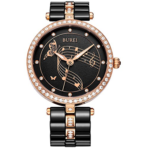 BUREI Women Dress Watches with Diamond Crystal-Accented Black Ceramic and Rose Gold-Tone