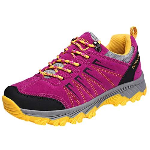 (Bralonees Pair of Outdoor Shoes Non-Slip Wearable Leisure Men's Sneakers Women's Running Sports Road Lightweight Purple )