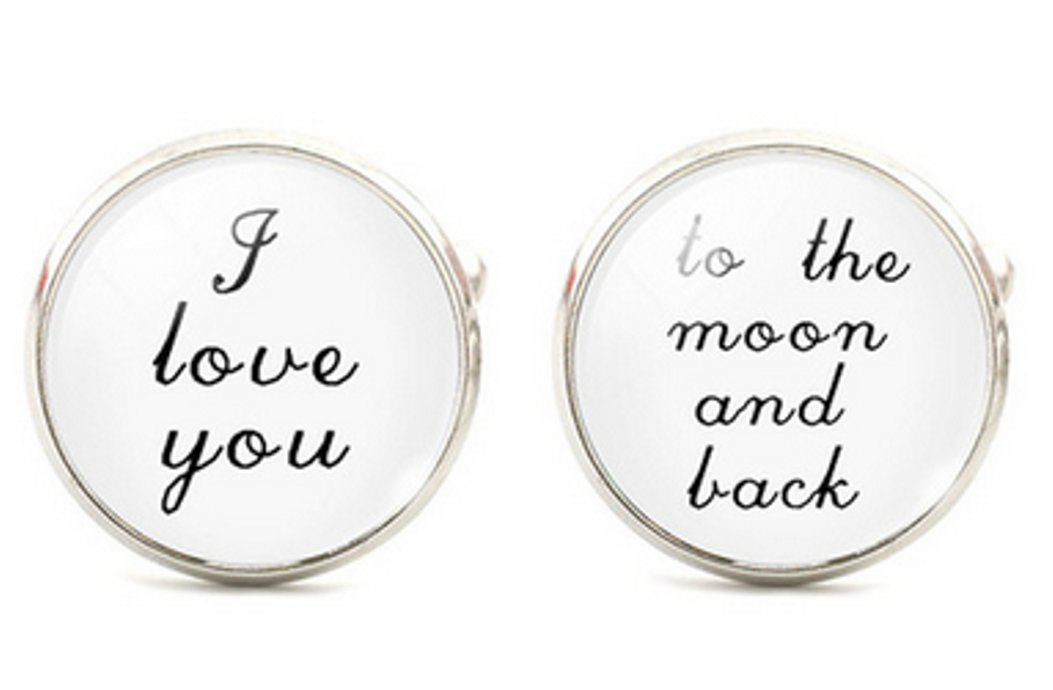I Love You To The Moon And Back Cuff Links - Groom Mens Cufflinks Wedding Father of the Bride Groomsmen Black and White ST6