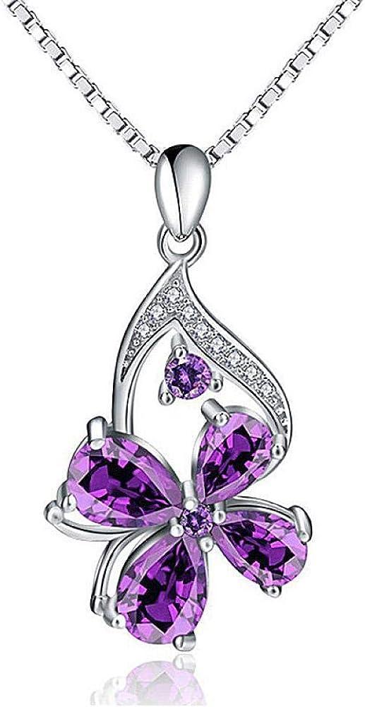 DFGHJK Colgante De Collar De Plata Esterlina 925 Único Colgante De Amatista Púrpura Colgante Mujer Compromiso Lady Party Gift Regalos
