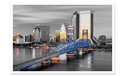 Jacksonville Touch of Color Skyline 24x16 Matte Poster Paper Wall Art