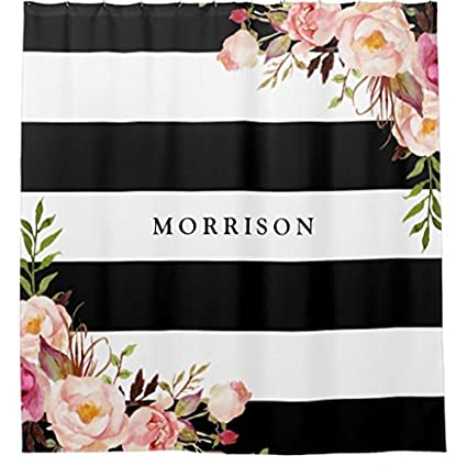Image Unavailable Not Available For Color Classy Black White Stripes Vintage Floral Monogram Shower Curtain