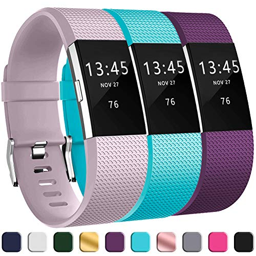 (GEAK Replacement Bands for Fitbit Charge 2, Adjustable Classic Wristbands for Fitbit Charge 2, Small Lavender Teal Plum)