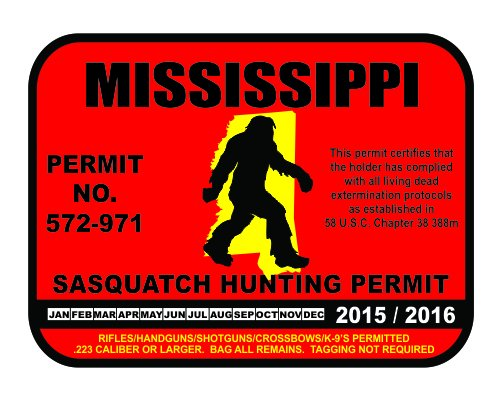 Mississippi Sasquatch Hunting Permit License Bigfoot Vinyl Sticker Decal